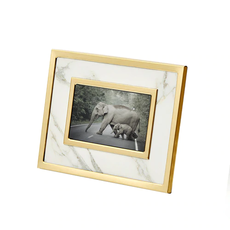 13651-02 White marble/gold frame 4x6
