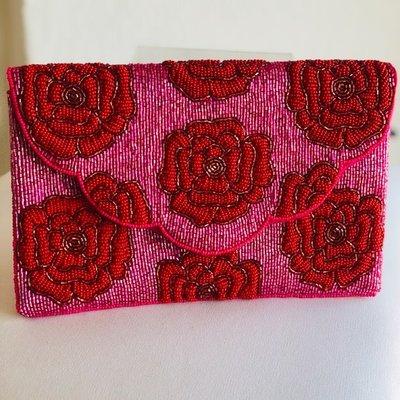 Fus/Red Rose beaded bag