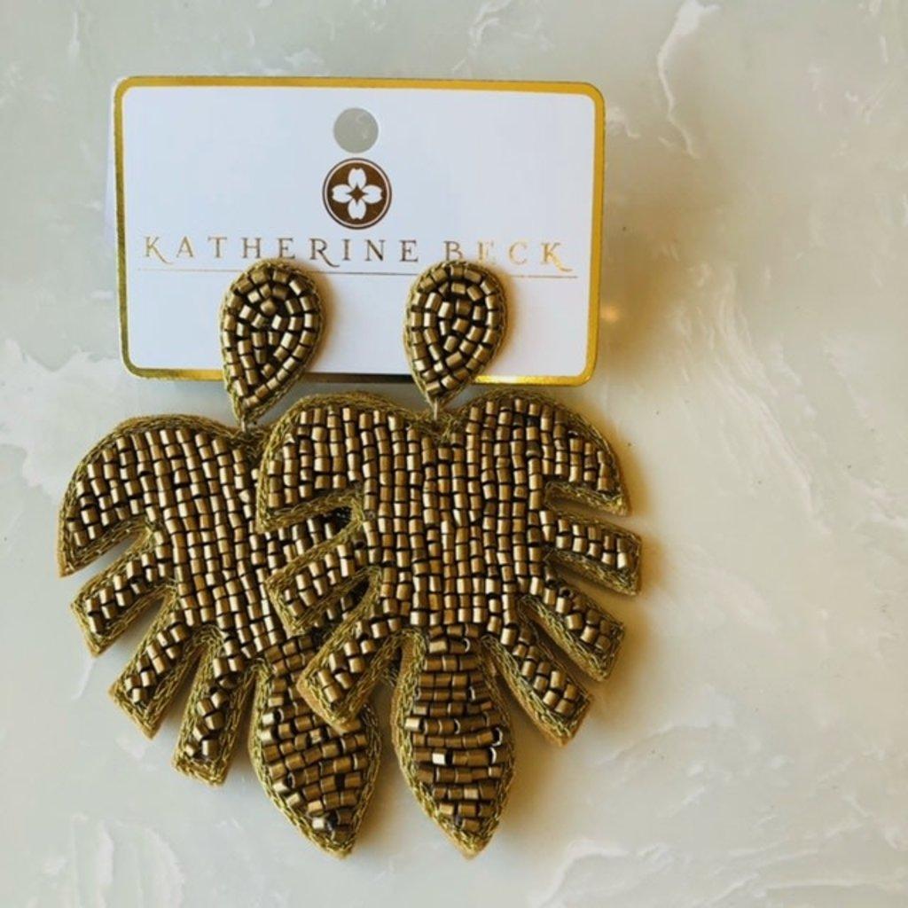 ep26078-001 gold metallic bead leaf earrings