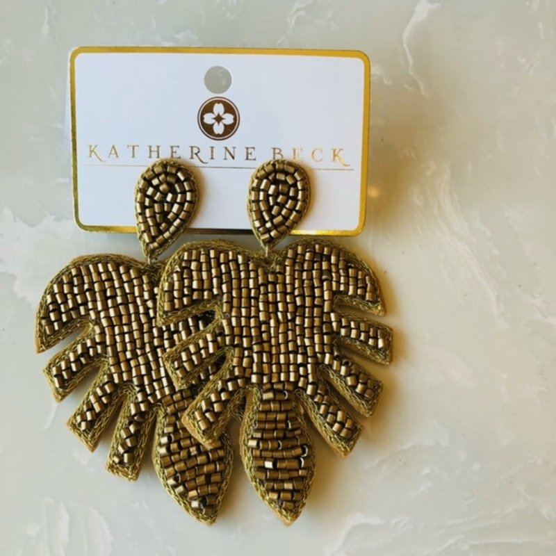 ep26078-001 gold metallic bead leaf earrings
