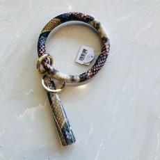 aa79537-003 burgundy snakeskin key ring bracelet