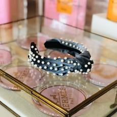 cc37495-005 gray pearl stud wide velvet  headband