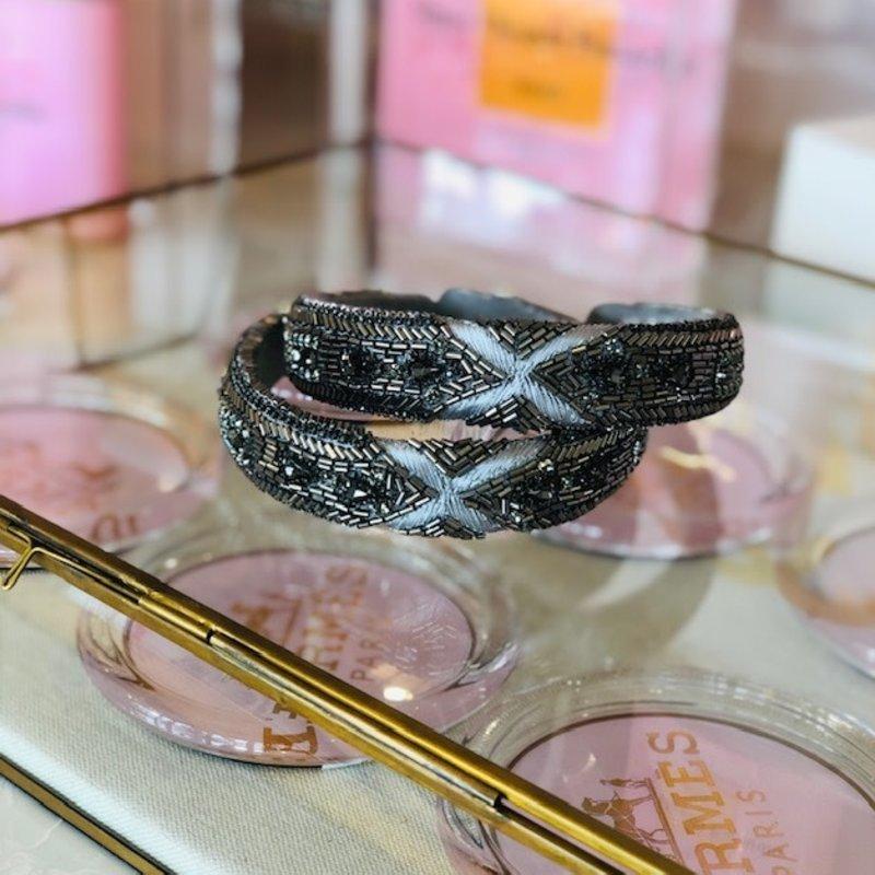 cc38089-001 gray bead and thread headband
