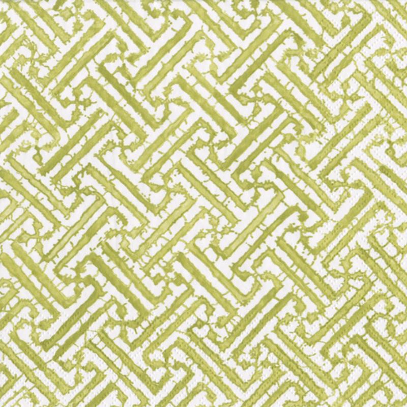 Fretwork moss green cocktail napkin