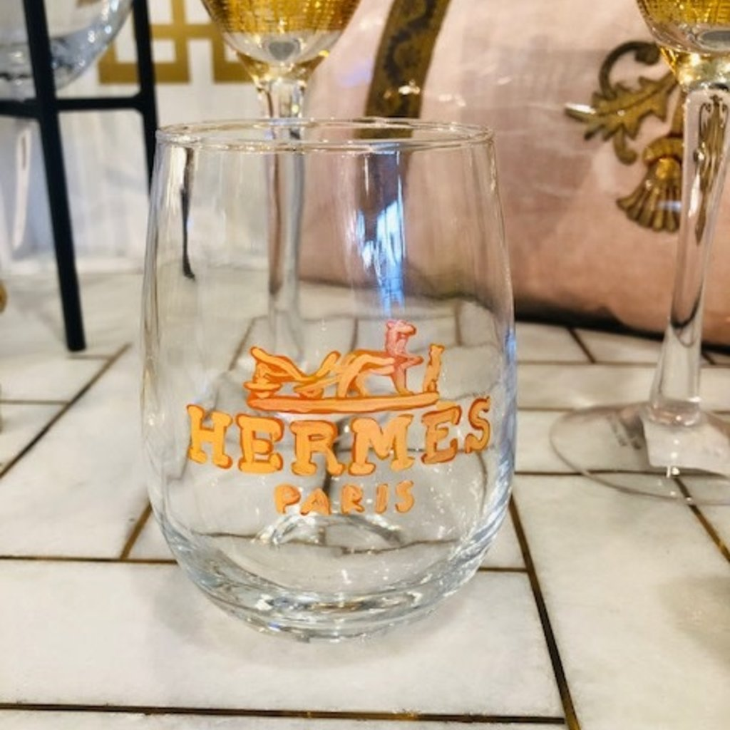 Hermes handpainted wine glass