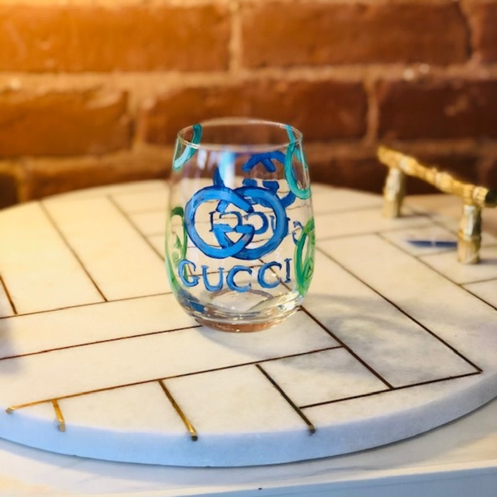 Gucci handpainted wine glass