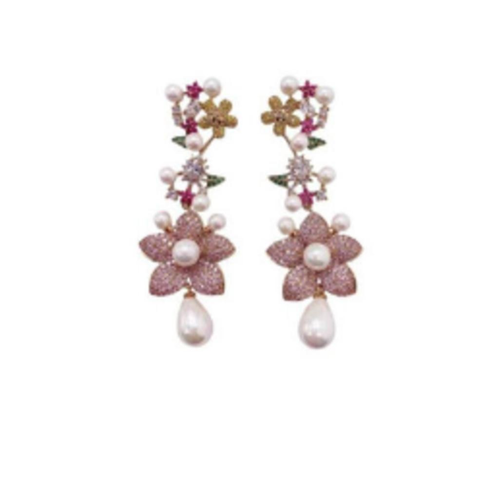 BRI002 Pink Daisy Pearl Earring