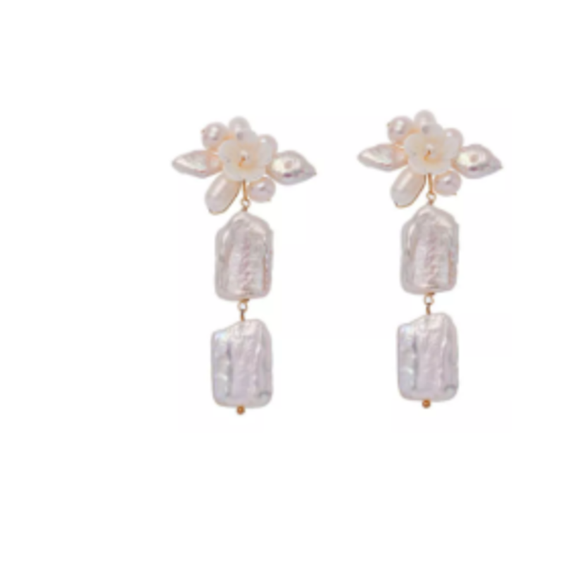 BRI020 Organic Shell Drop earring
