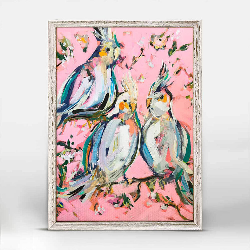 Birds on Pink mini framed canvas