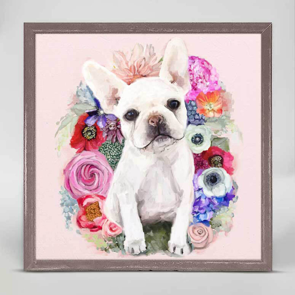 Best Friend - floral frenchie pup mini framed canvas