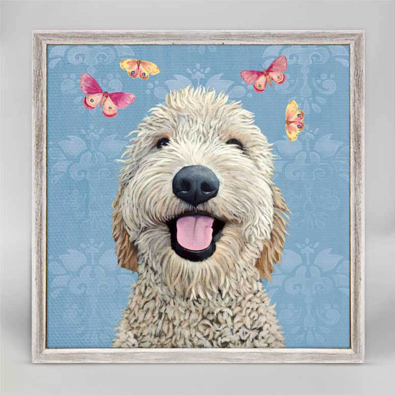Happy Dog - Light Blue mini canvas