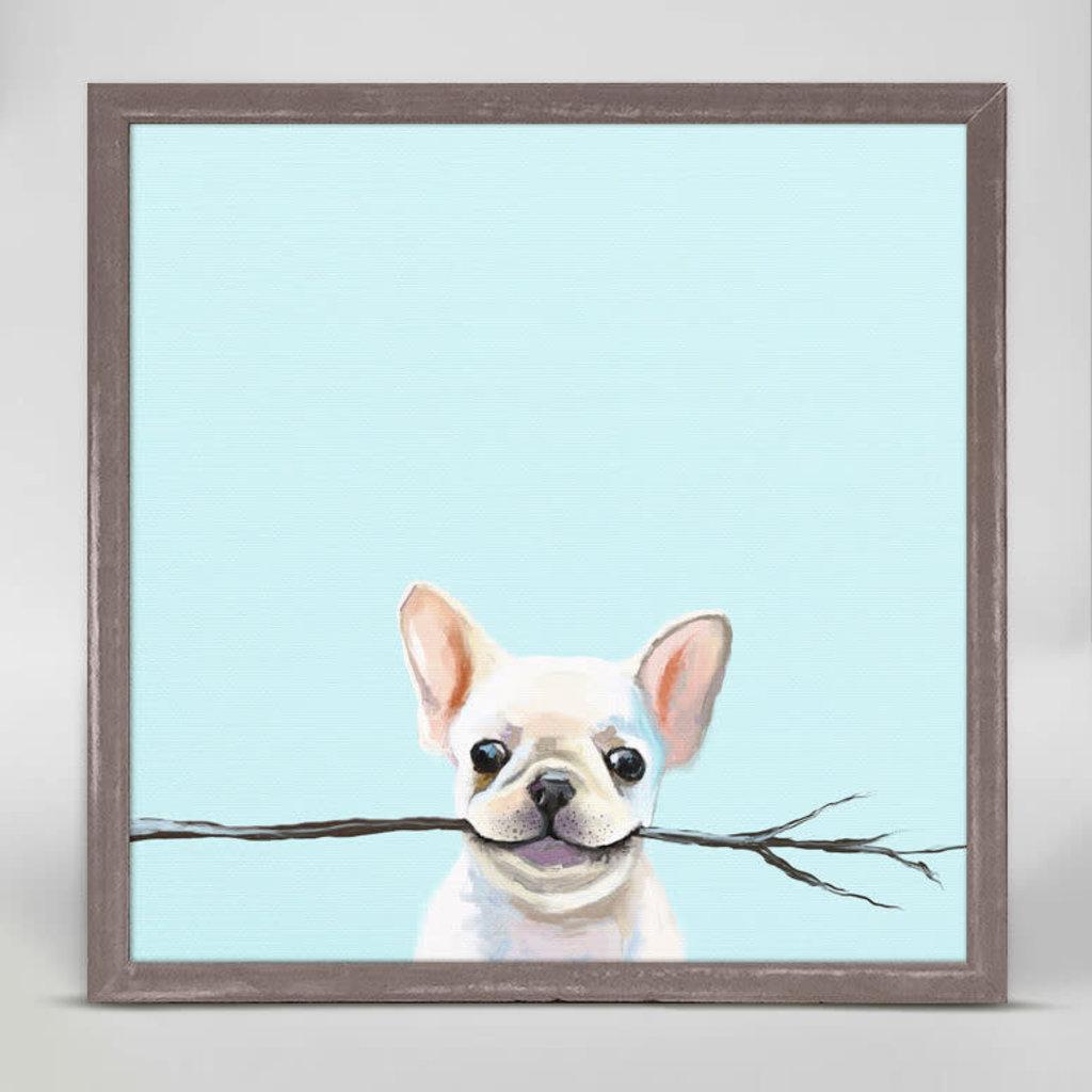 Best Friend - Frenchie Fetch Mini framed canvas