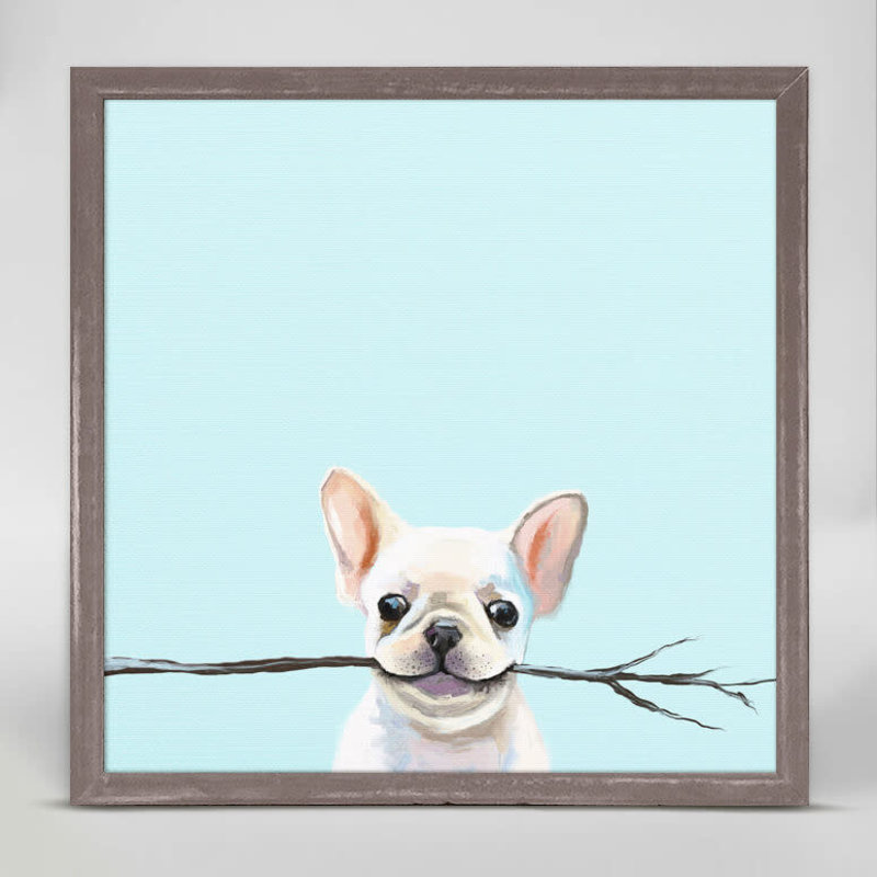 Best Friend - Frenchie Fetch Mini framed canvas