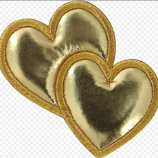 Gold Puffy Heart Patch