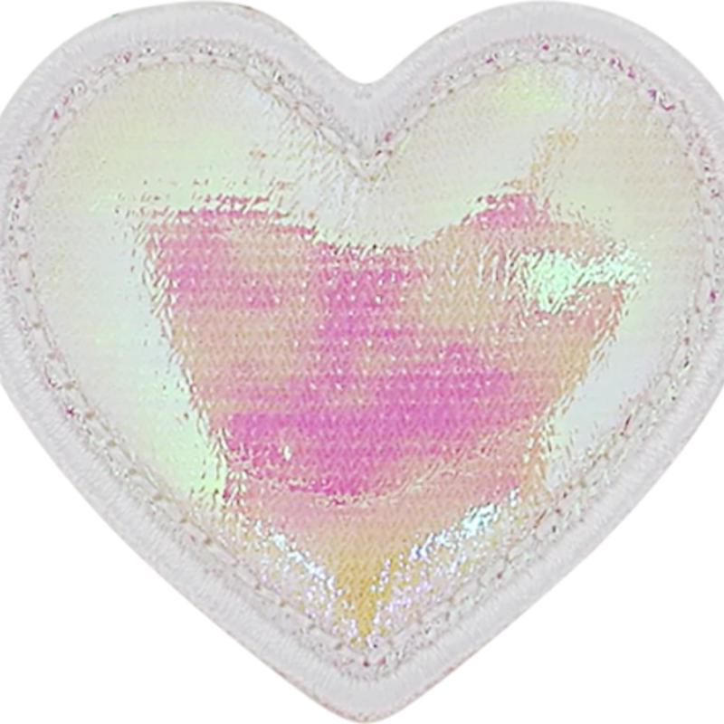 puffy iridescent heart patch