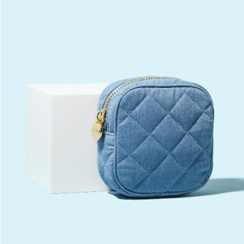 SCL-PNMP Blue Jean puffy mini pouch