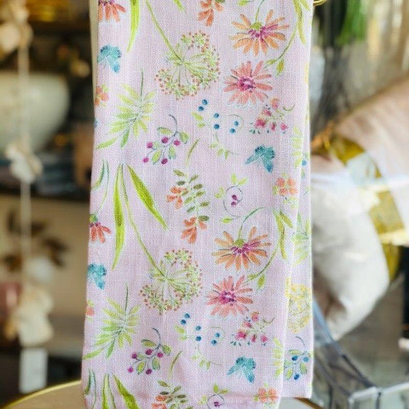 502-10197 secret garden pink dishtowel