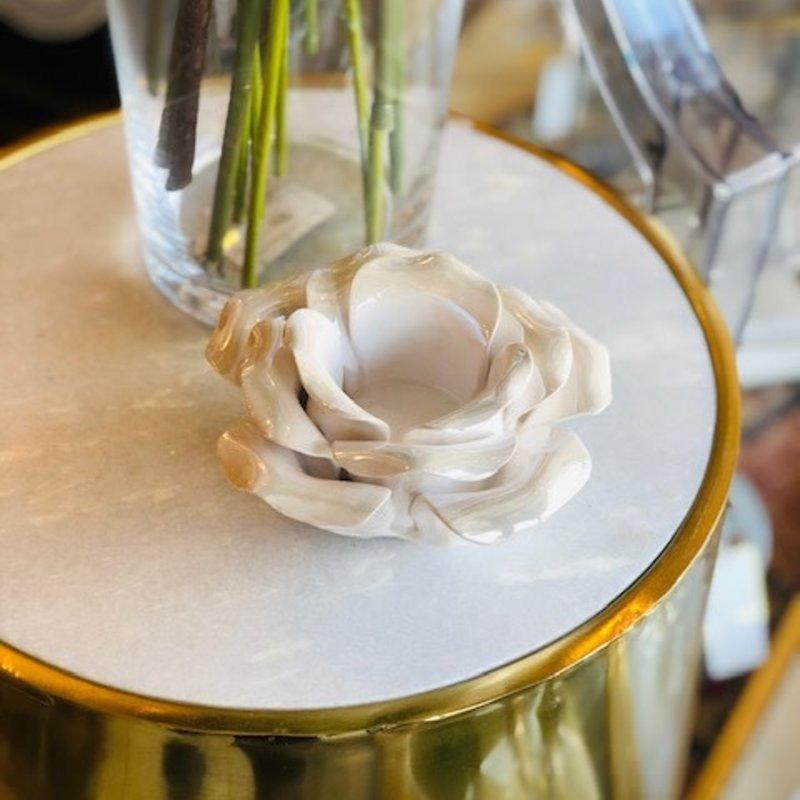 418-10169 petal blossom white tealight holder