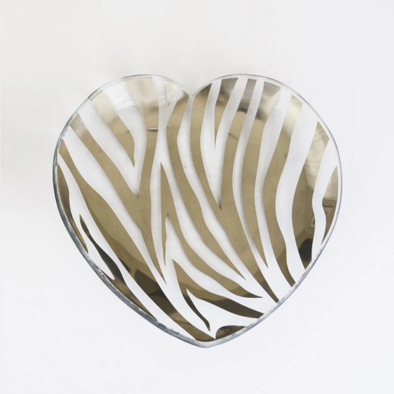 "CSH602p 7"" Heart Plate - Zebra"