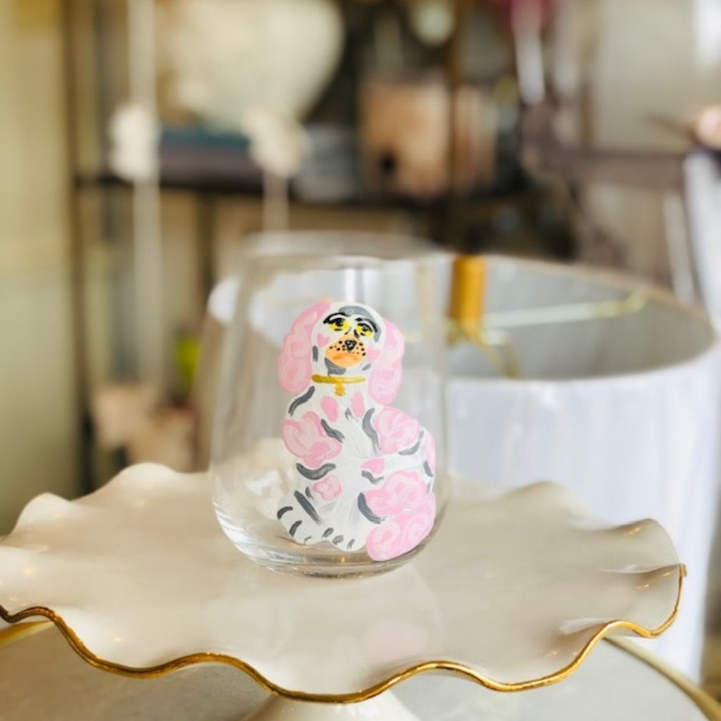 Pink Dog handpainted wine glasses