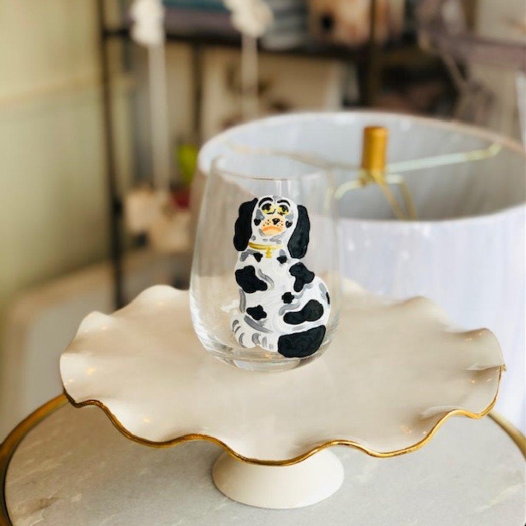 Black and White dog handpainted wine glass
