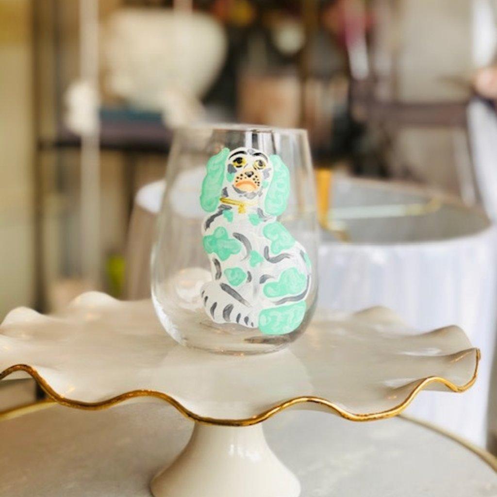 Seafoam Dog handpainted wine glass