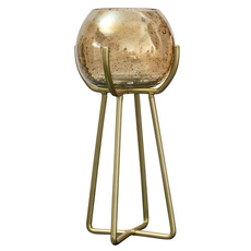 Gold Luster Bubble Glass Candle Holder Tall