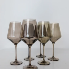 Gray Smoke Stemmed Wine Glass