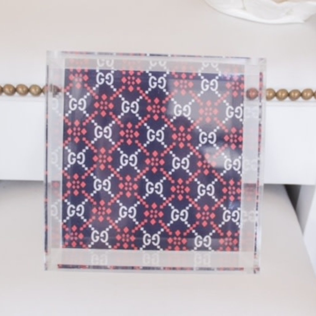 Navy back w/ Red & White Gucci 8x8 tray