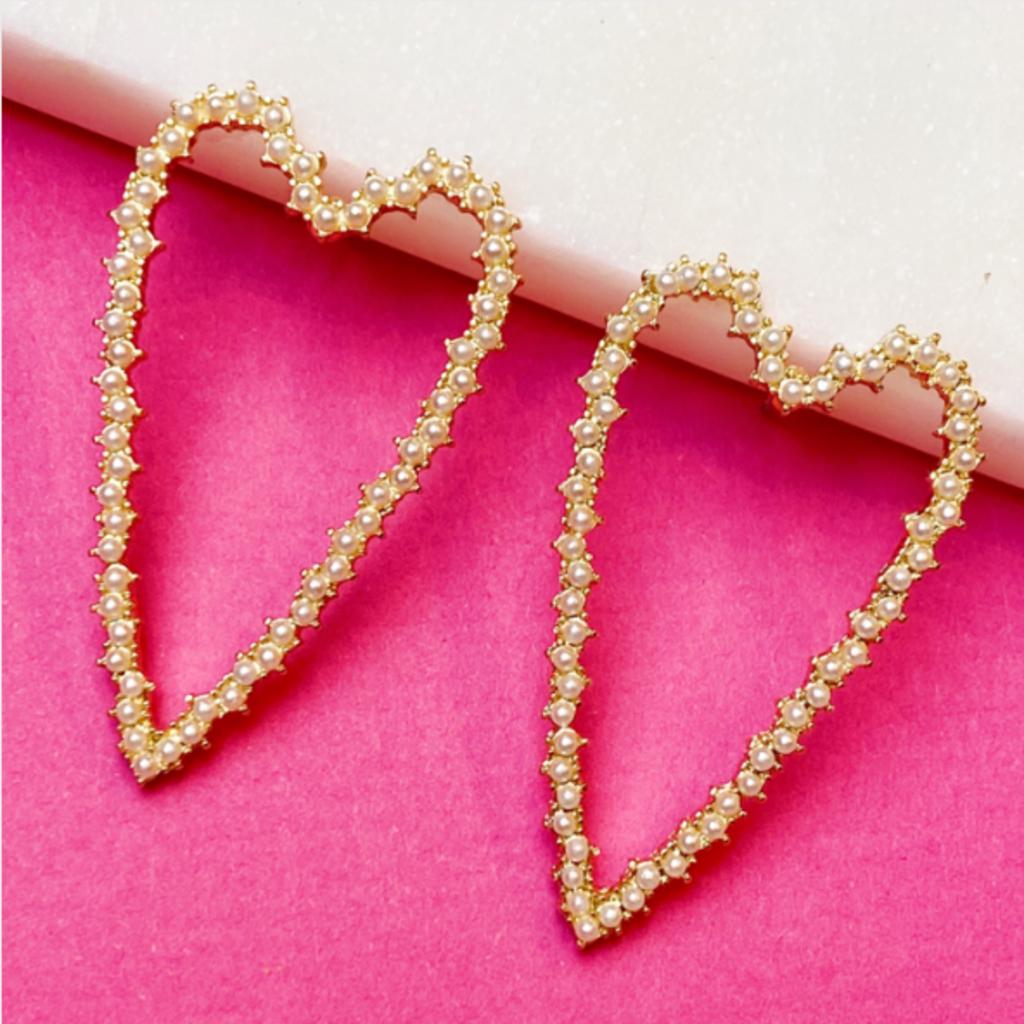 Pearl Encrusted Heart Earrings