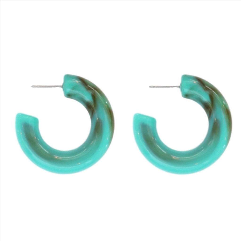 Chunky Lucite Hoops - Turquoise sad068