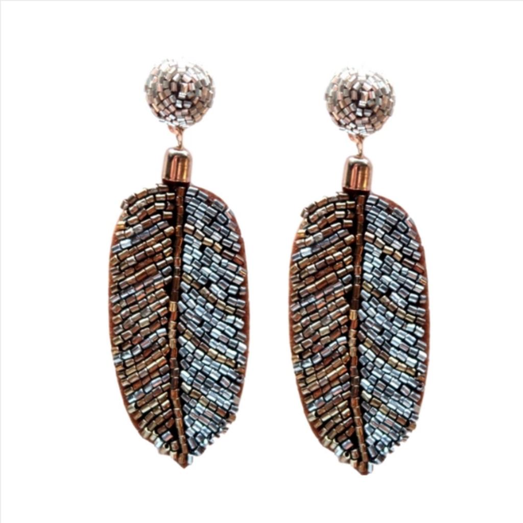 Metallic Seed Bead Palm Drops