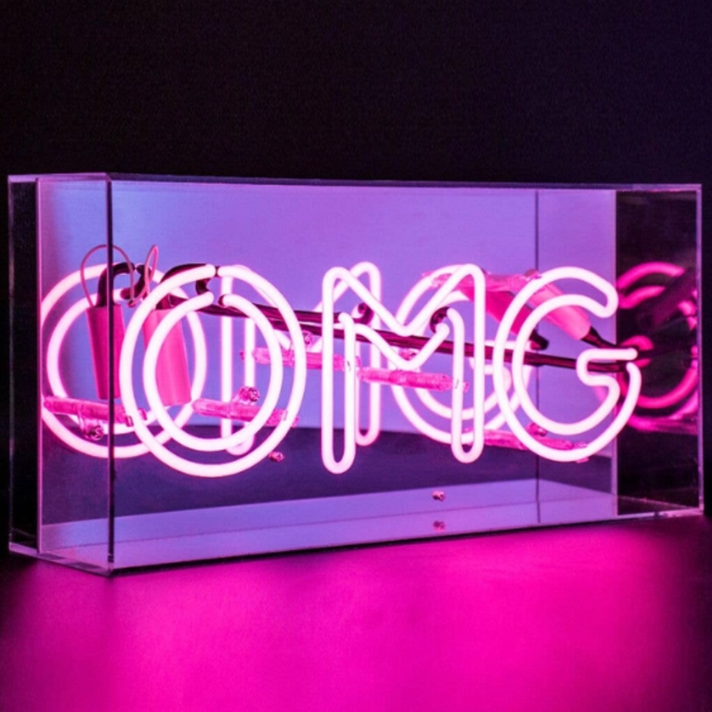 'OMG' Acrylic Box Neon Light - Pink