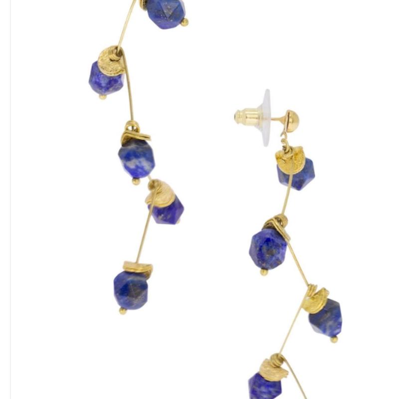 Crystal Branch Drop Earring  Navy