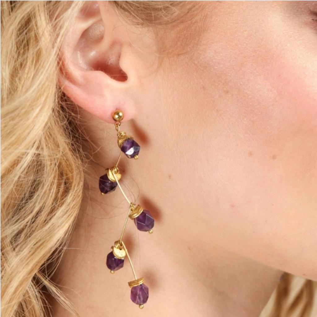 Crystal Branch Drop Earring  Purple