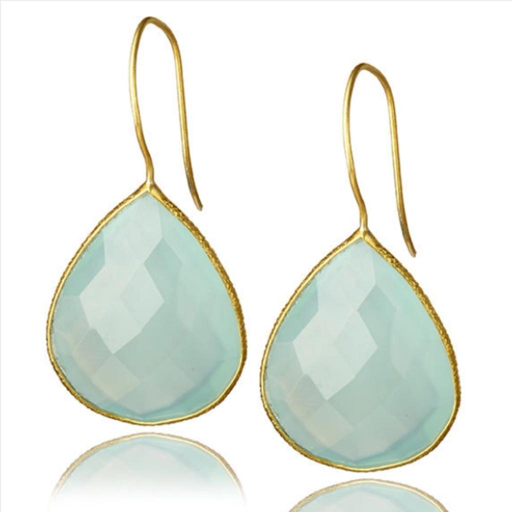 Drop Gemstone Earring  Aqua