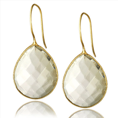 Drop Gemstone Earring  White
