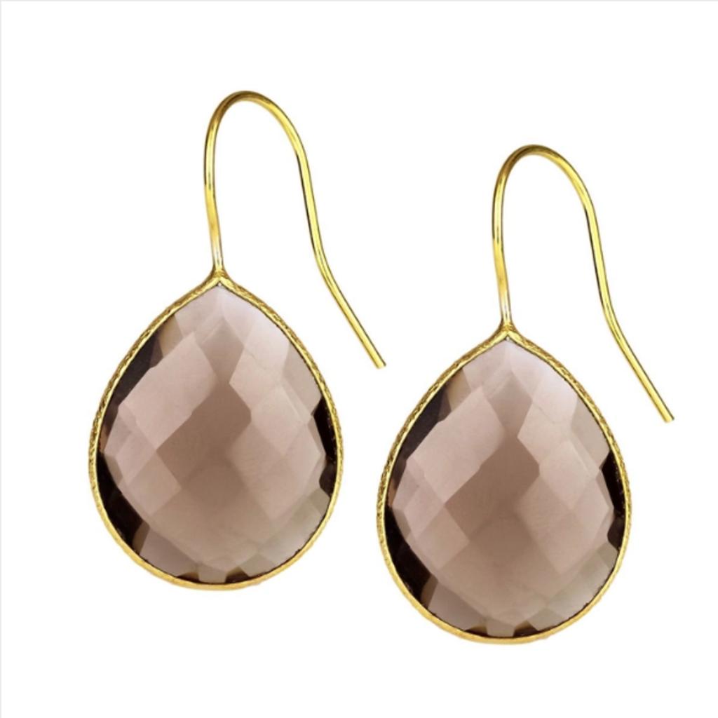 Drop Gemstone Earring  Brown