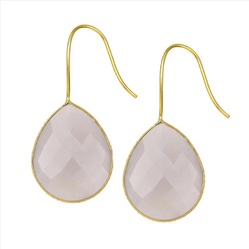 Drop Gemstone Earring  Grey