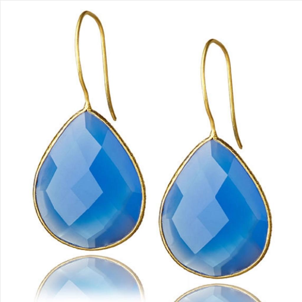 Drop Gemstone Earring  baby blue