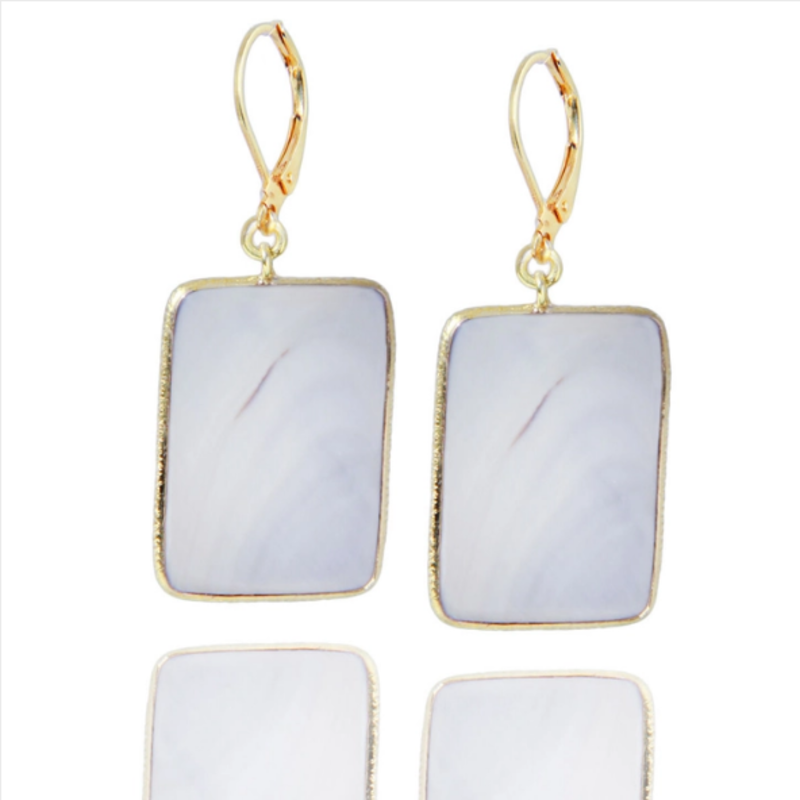 Grey Mother of Pearl Rectangle Earring
