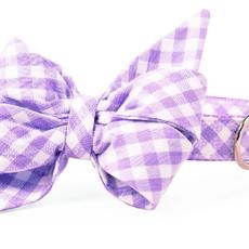 Lavender Picnic Plaid Belle bow collar MEDUM