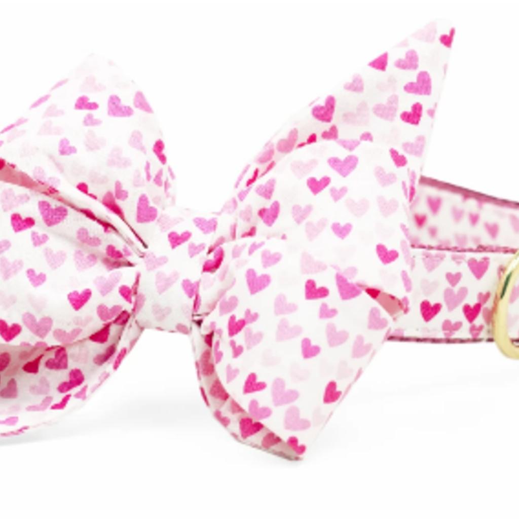Pink Hearts Belle Bow Collar MEDIUM