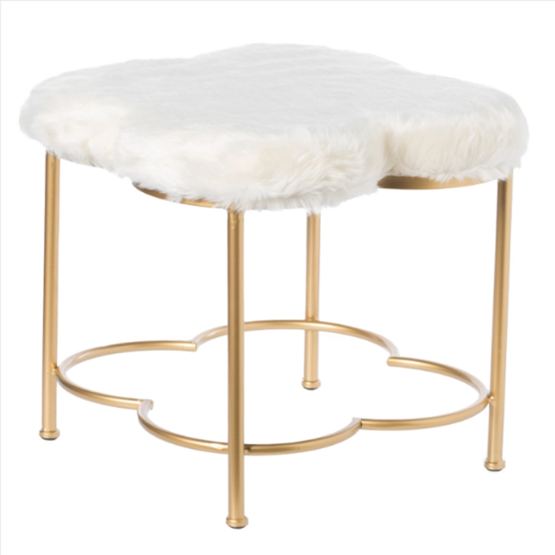 Cloud Shaped White Fur Gold Vanity Stool