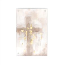 Tan Cross with Gold Details in Acrylic Frame  Joshua 1:9