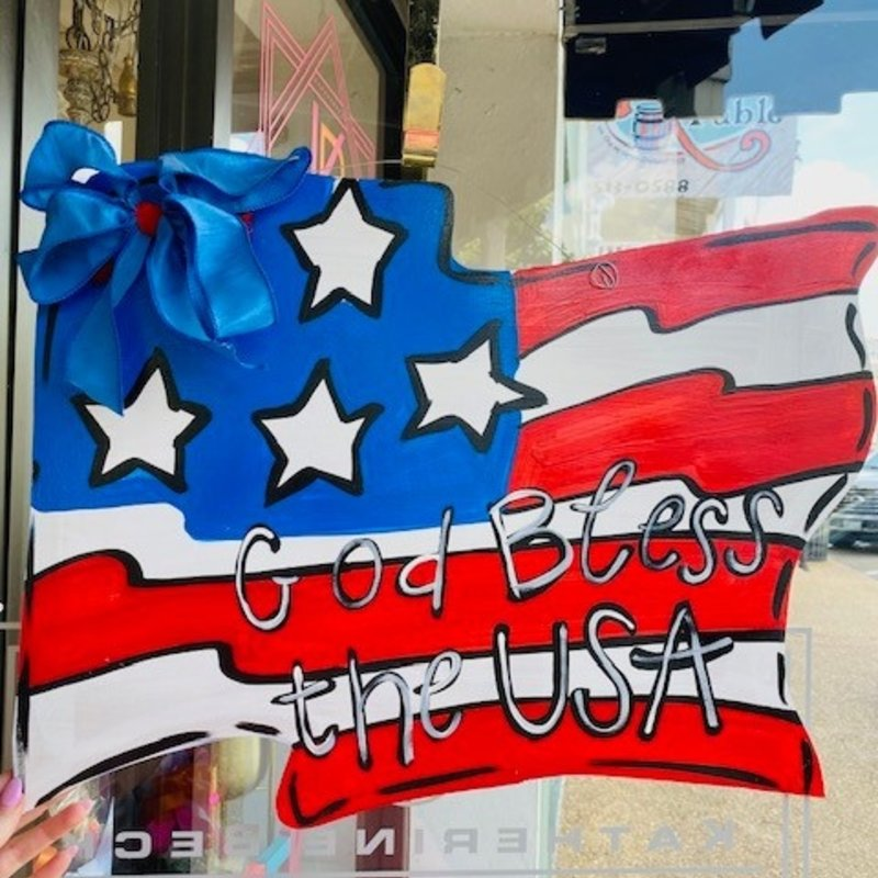 Wooden US Flag door hanger