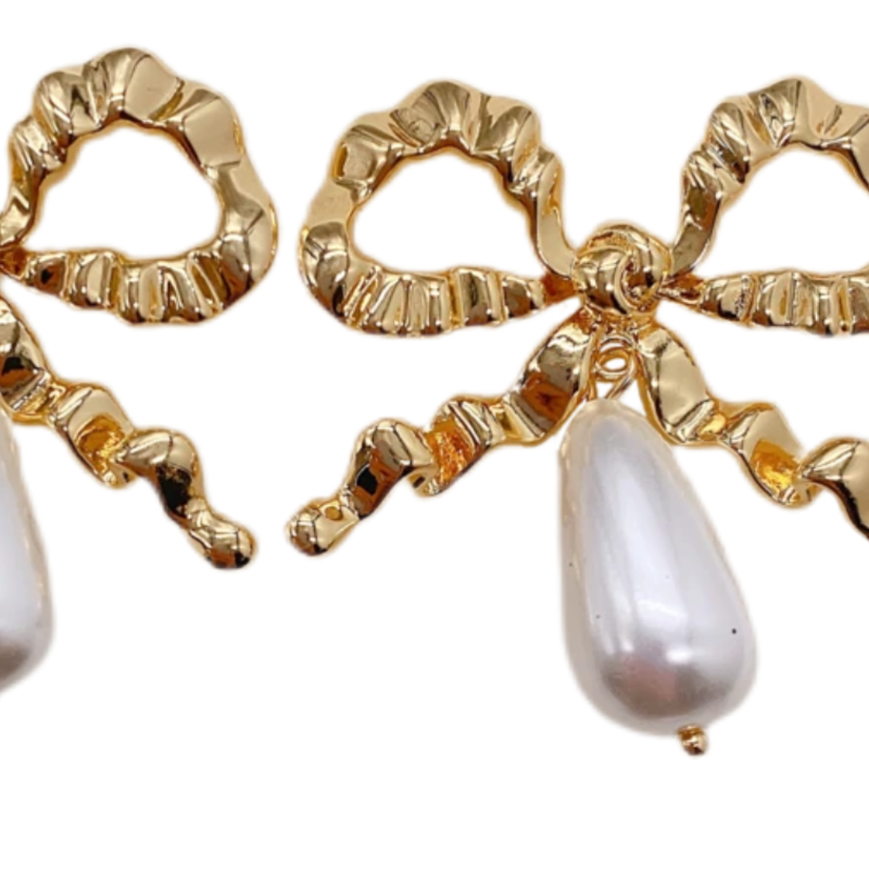 Betsy Golden bow with pearl drops