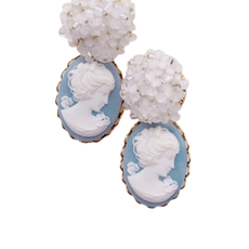 Charlotte Cameo Blue Floral Dangles