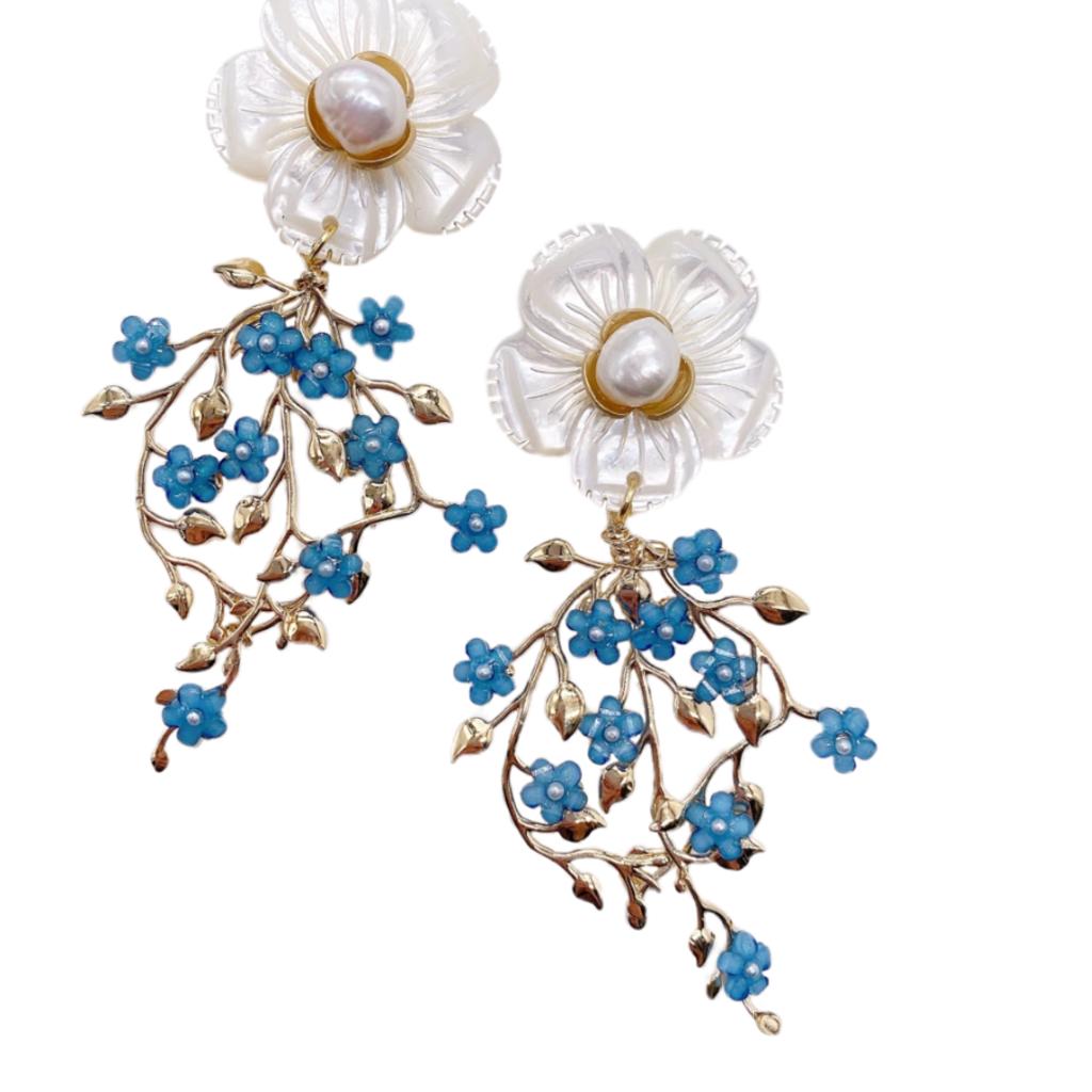 Eloise Floral Vine Dangles - Periwinkle