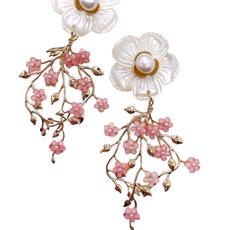 Eloise Floral Vine Dangles - Pink